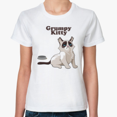 Классическая футболка Grumpy Kitty