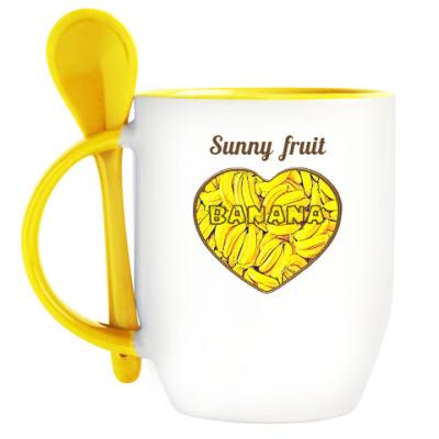 Кружка с ложкой   Sunny fruit