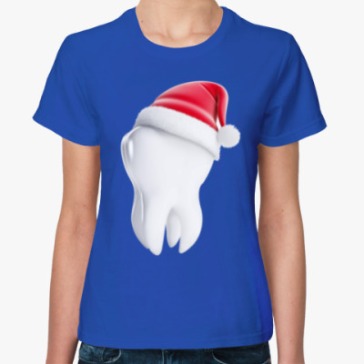 Женская футболка Зуб Санты