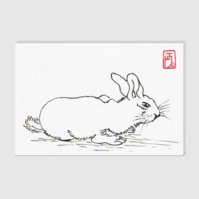 Холст Белый кролик