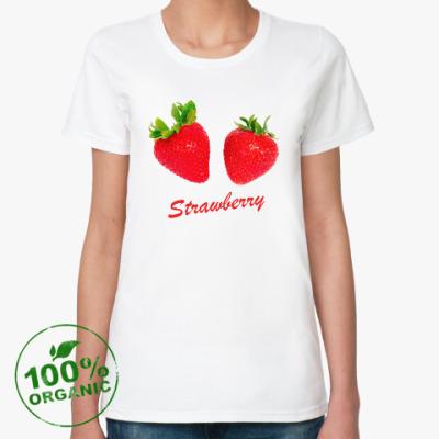 Женская футболка из органик-хлопка Клубника