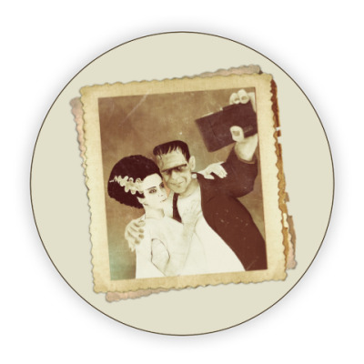Костер (подставка под кружку) Монстр Франкенштейна и невеста