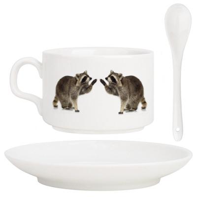 Кофейный набор Еноты влюбленные