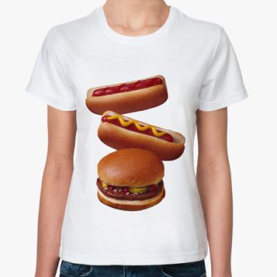 Классическая футболка Гамбургер и хотдоги