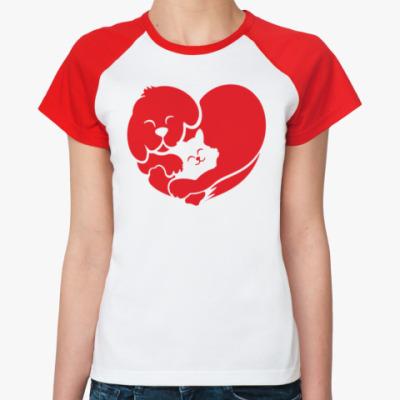 Женская футболка реглан Cat Dog Love