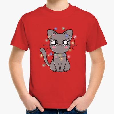 Детская футболка Новогодний котик в гирлянде