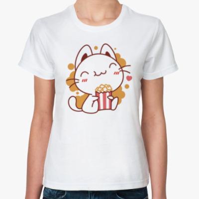 Классическая футболка Котенок и Попкорн