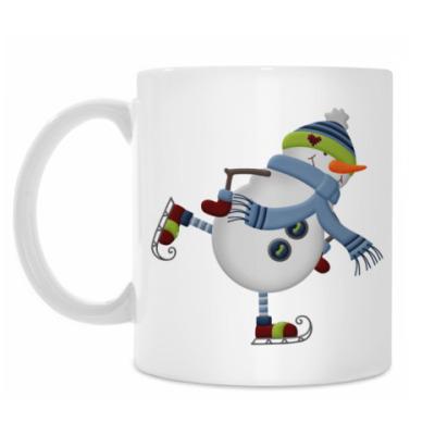 Кружка Снеговик на коньках