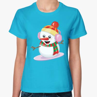 Женская футболка Снеговик Сноубордист