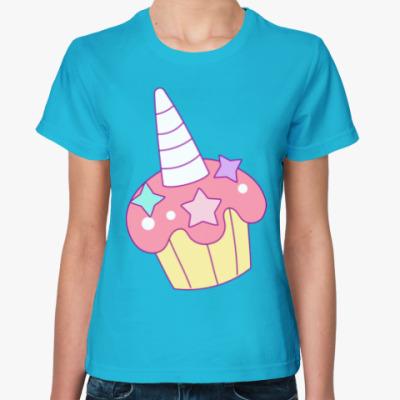Женская футболка Кекс Единорог
