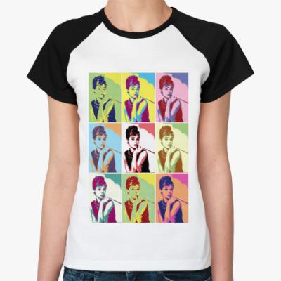 Женская футболка реглан Одри Хепбер