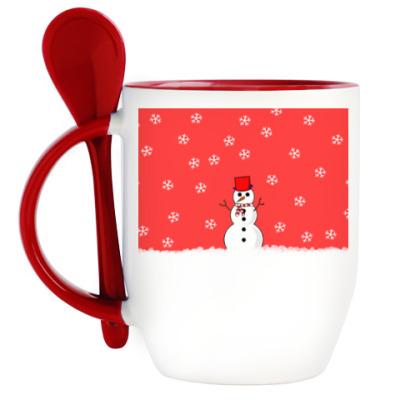 Кружка с ложкой Снеговик