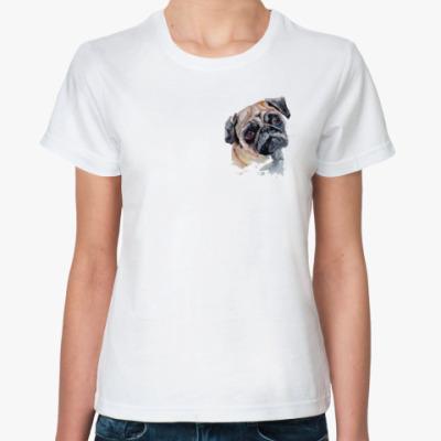 Классическая футболка Грустный Мопс