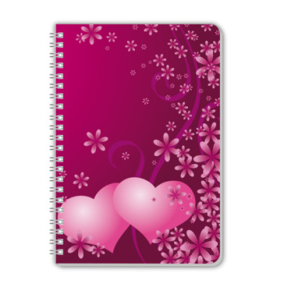 Тетрадь Розовые сердечки
