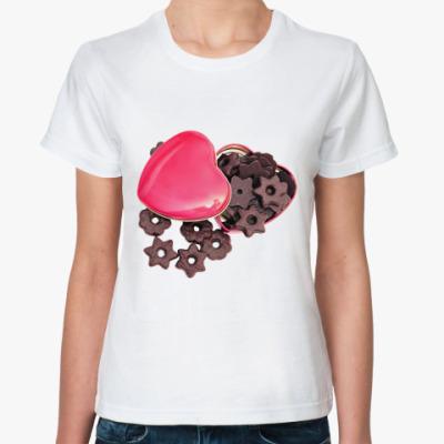Классическая футболка Шоколадные звездочки в сердце