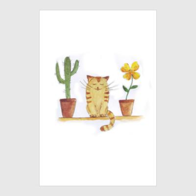 Постер кот и кактус