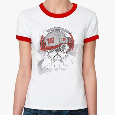 Женская футболка Ringer-T Собака в наушниках