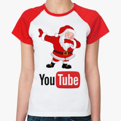 Женская футболка реглан YouTube Dab Santa