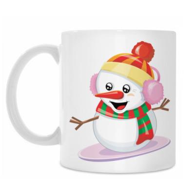 Кружка Снеговик Сноубордист