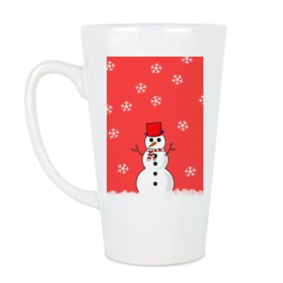 Чашка Латте Снеговик