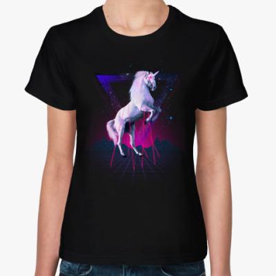Женская футболка Лазерный единорог