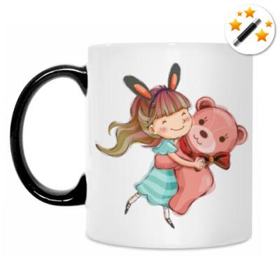 Кружка-хамелеон Девочка и медвежонок