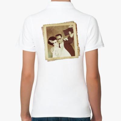 Женская рубашка поло Монстр Франкенштейна и невеста