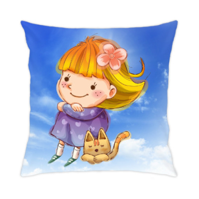 Подушка Девочка и котенок