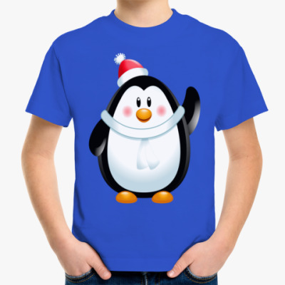 Детская футболка Новогодний Пингвин