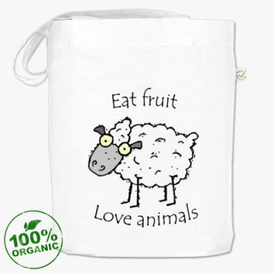 Сумка Ешьте фрукты, любите животных.