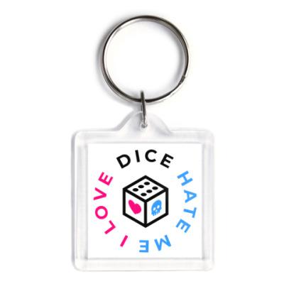 Брелок Брелок «I Love Dice But Dice Hate Me» 3,9x3,9 см