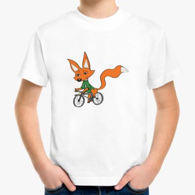 Детская футболка лисенок Инти и велосипед