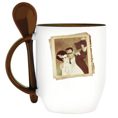 Кружка с ложкой Монстр Франкенштейна и невеста