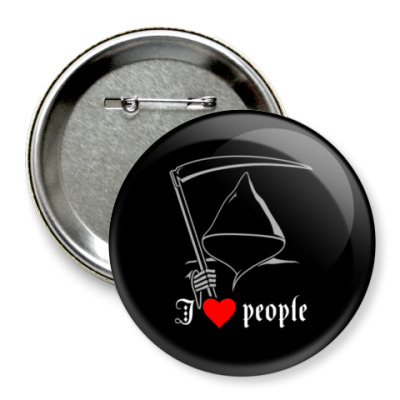 Значок 75мм 'I love people'