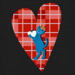 Средневековый кот на клетчатом сердце