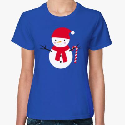 Женская футболка Милый Снеговик