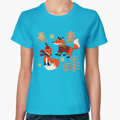Женская футболка Лисы. Лисья