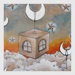 Дом над небом, звезды, месяц, облака