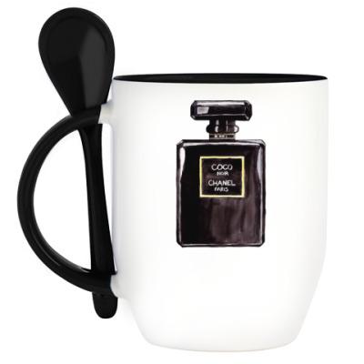 Кружка с ложкой Coco Noir Chanel Perfume