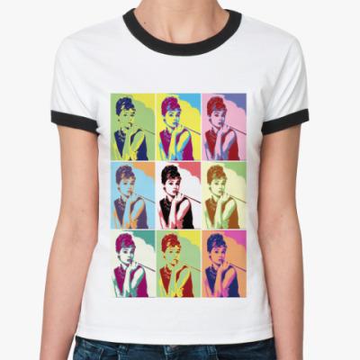 Женская футболка Ringer-T Одри,Хепбер