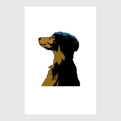 Постер Собака в шапке