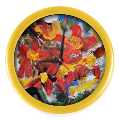 Настенные часы 'Разрывающие цвет цветы'