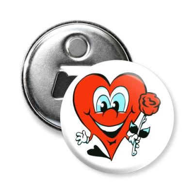 Магнит-открывашка сердце