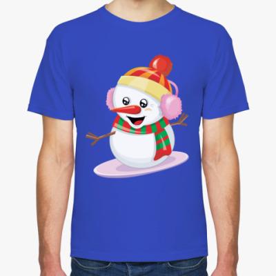 Футболка Снеговик Сноубордист