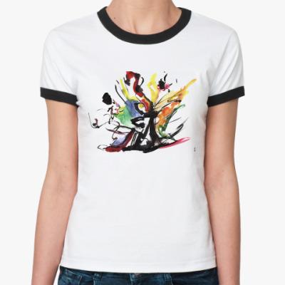 Женская футболка Ringer-T Футболка женская «ПРОБУЖДЕНИЕ ТАНЦА»