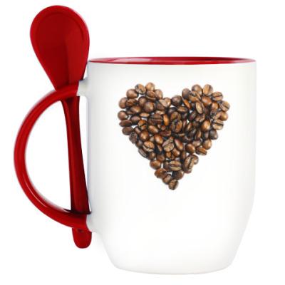 Кружка с ложкой для истинных любителей кофе