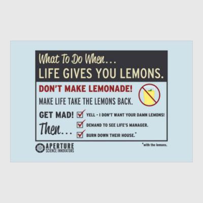Постер Кейв Джонсон из aperture Science о лимонах
