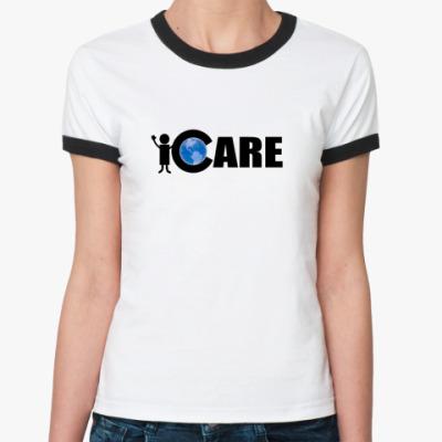 Женская футболка Ringer-T  iCare