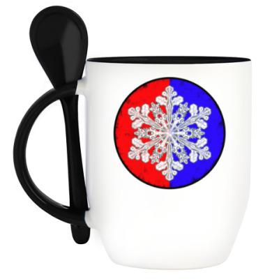 Кружка с ложкой Космическая снежинка
