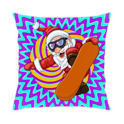 Подушка Санта Сноубордист